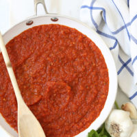 This Classic Marinara Sauce is a quick and easy tomato sauce recipe made with canned tomatoes, herbs and garlic and can be used in a myriad  of ways
