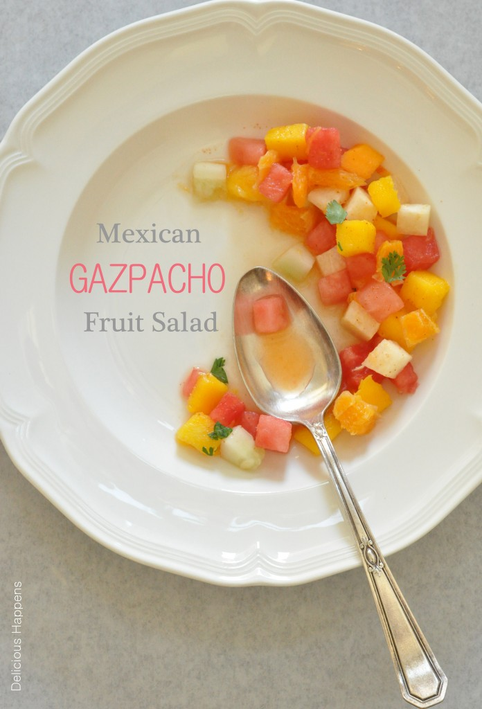 This Mexican Gazpacho Fruit Salad is a combination of watermelon, papaya, mango, jicama, cucumber and orange, and it's tossed in lime juice and sprinkled with chili powder