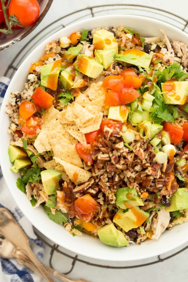 This Southwest Quinoa Salad has an incredible combination of flavors and healthy ingredients and it's all tossed in a delicious Southwest Salad Dressing