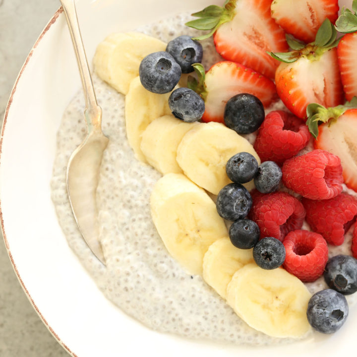 This creamy Overnight Vanilla Chia Seed Pudding is made with almond milk, plain Greek yogurt, chia seeds, pure maple syrup and vanilla