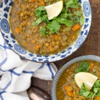 This Vegan Lentil Soup is made with carrots, celery, onion, garlic, Madras curry powder, and vegetable broth. It's quick and easy to make
