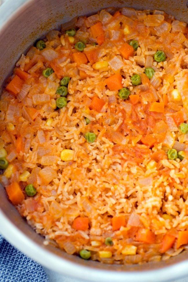 pot of Spanish rice