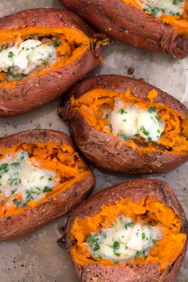 Baked Sweet Potato makes an incredible side dish to serve with just about anything, but it can also stand alone as a vegetarian main.  Learn how to bake sweet potatoes with this easy oven baked sweet potatoes recipe