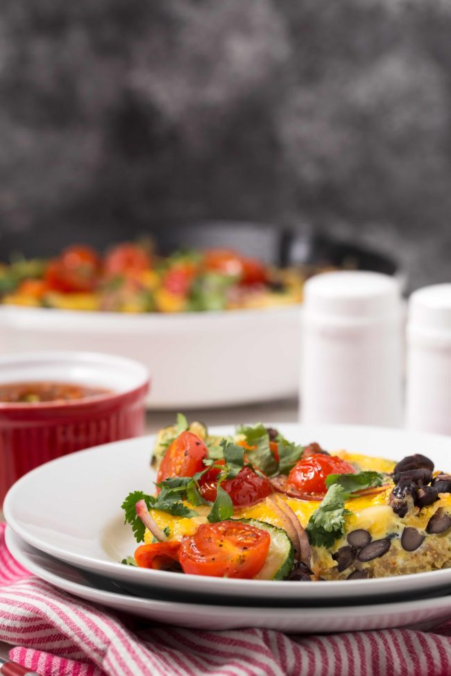 This Spanish Frittata is loaded with zucchini, onion, garlic, black beans, quinoa, a little cheese and of course eggs