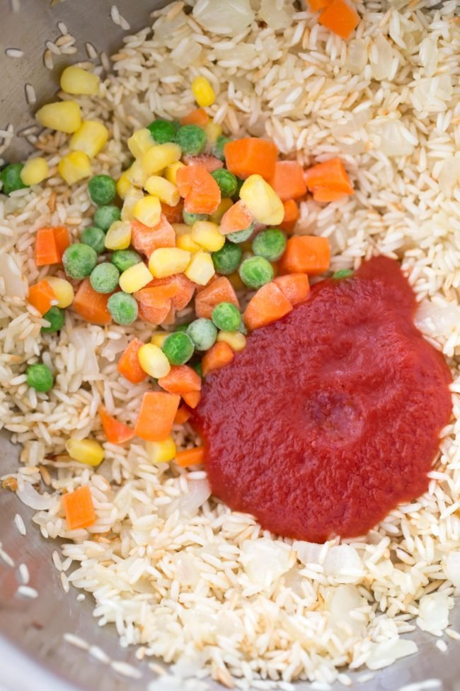 pot of rice with vegetables