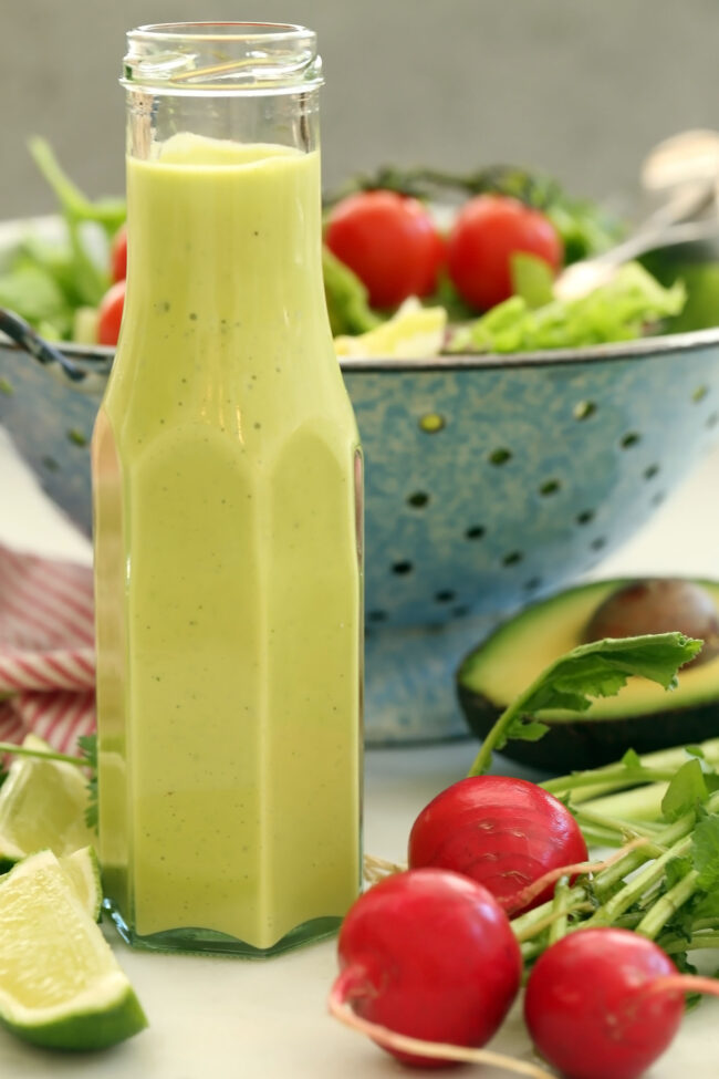 bottle of avocado salad dressing