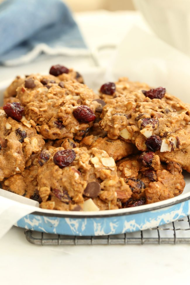 These Gluten-Free Trail Mix Cookies are made with gluten-free oats, quinoa flour, almonds, sunflower seeds, coconut, cranberries and dark chocolate chips