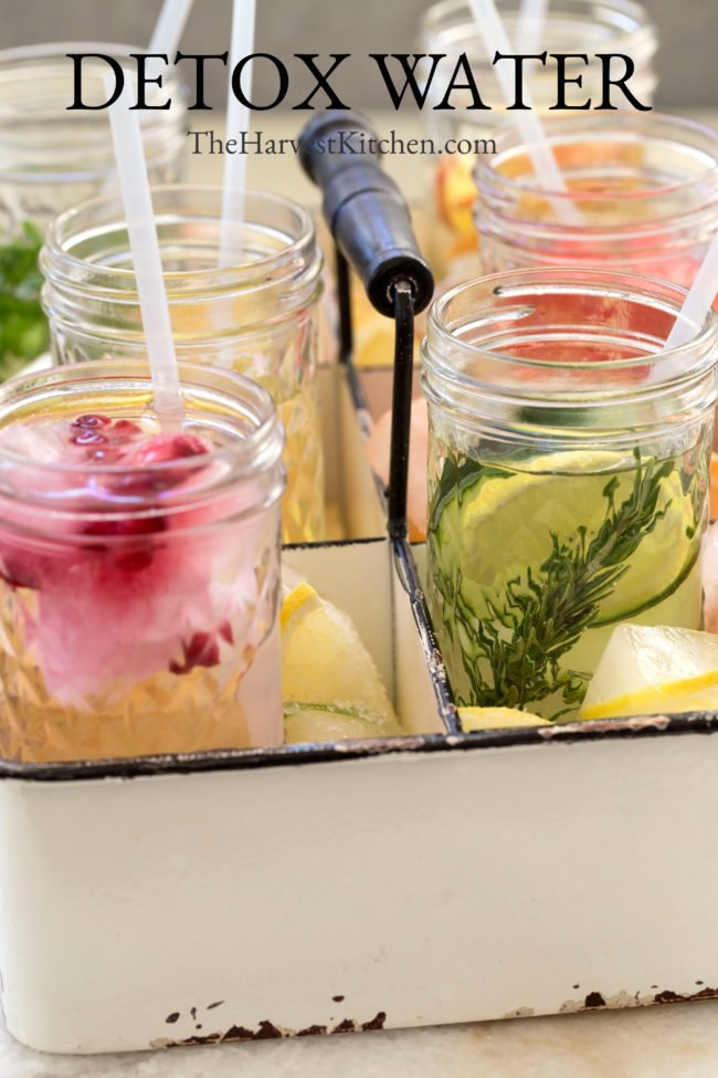 glasses with fruit detox water ingredients