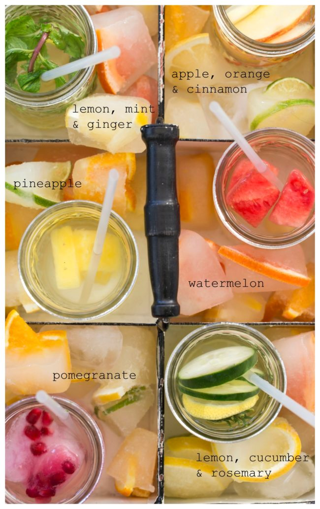 glasses filled with detox water ingredients (fruit)