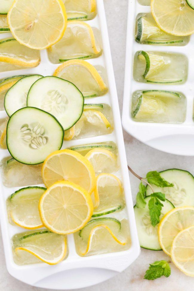 cucumber lemon ice cubes in trays