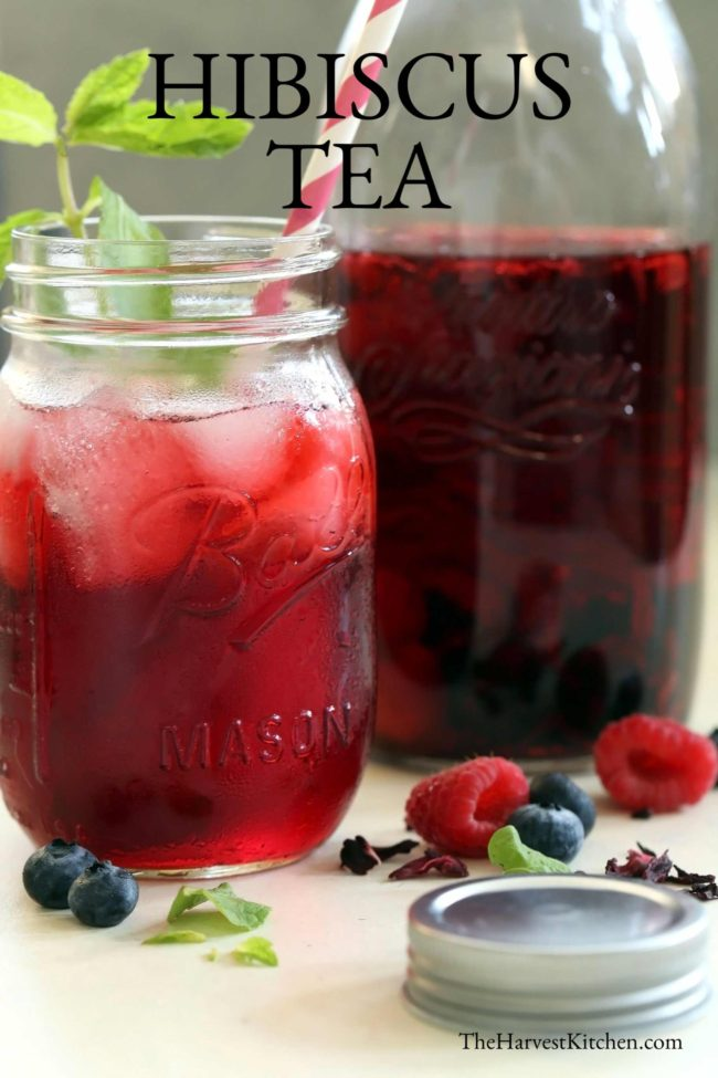 glass filled with hibiscus flower tea