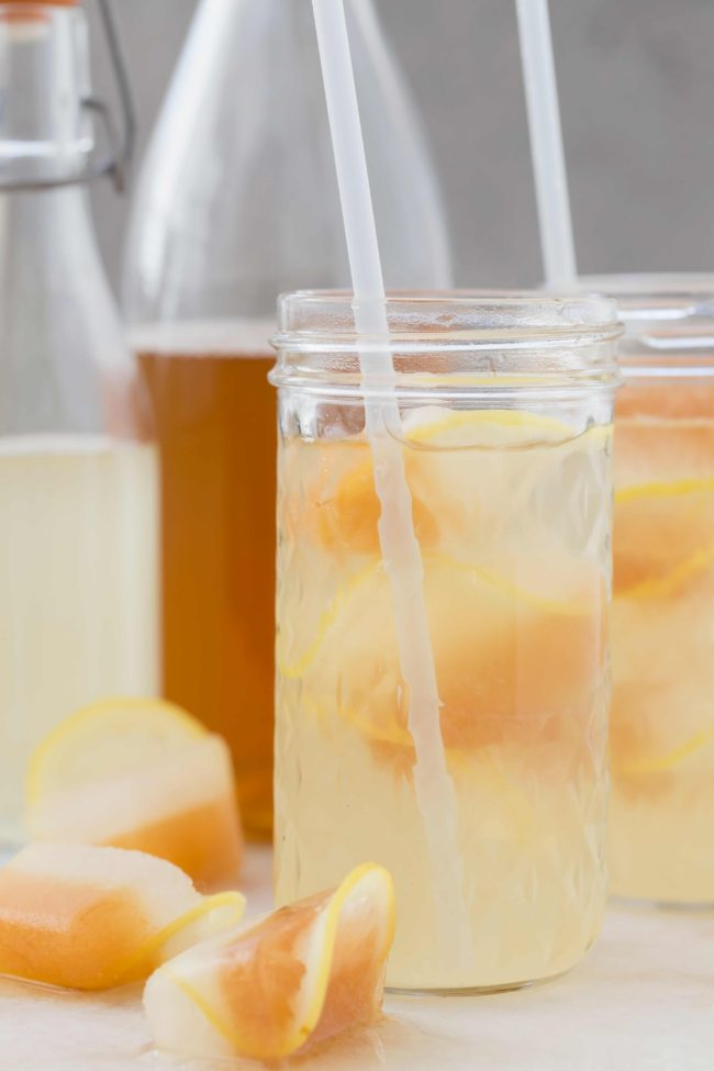 These refreshing Arnold Palmer Ice Cubes keep tea from diluting and they add a pop of flavor to a tall glass of lemonade and water