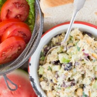 This Chickpea Tuna Salad is made with canned chickpeas, onion, celery, kalamata olives, parsley and parmesan cheese all tossed in a delicious dressing