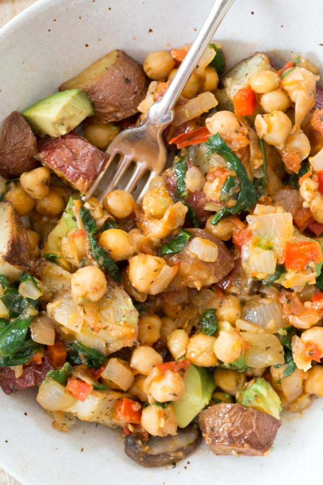 bowl of chickpea and potato skillet