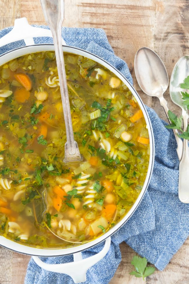 This Chickpea Soup (Vegetarian Chicken Noodle Soup) is a cozy, comforting and delicious soup that's quick and easy to make