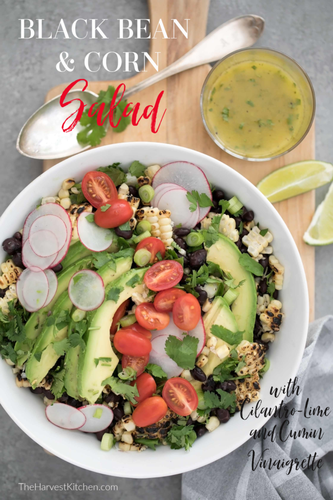 Black bean and corn salad is a mix of black beans, grilled corn, cherry tomatoes, radishes, parsley, scallions and avocado all tossed in a perky dressing