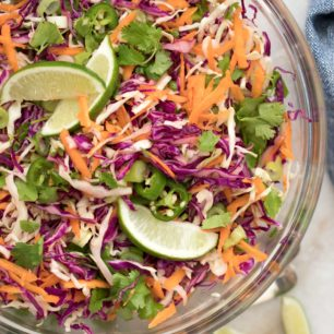 This Healthy Coleslaw Recipe is made with green cabbage, red cabbage, carrot, green onion and cilantro all tossed in an addictive honey lime vinaigrette