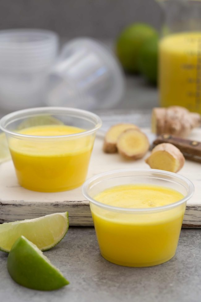 small containers of pineapple ginger juice