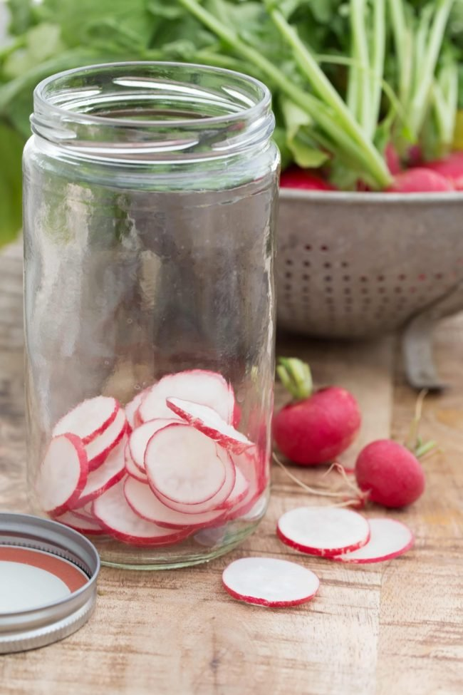 Pickled radish adds a delicious pop of flavor to just about anything you serve them with, but especially burgers, tacos and salads