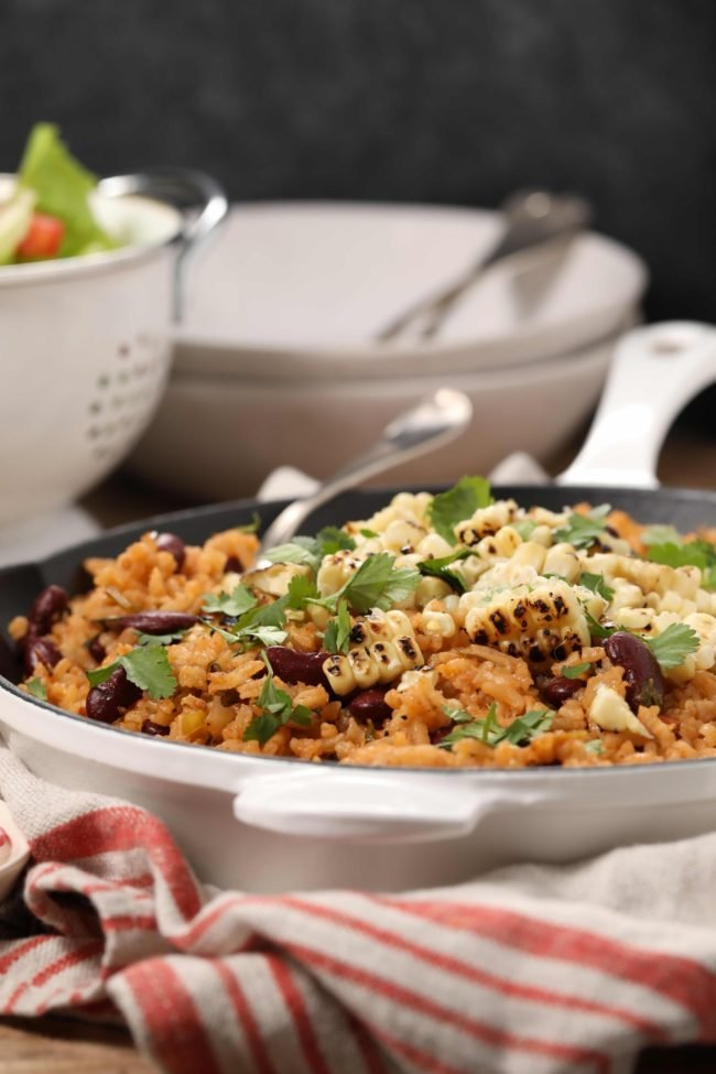 Spanish Rice and Beans makes a flavorful side dish to serve with your favorite Mexican dinner recipes as well as a healthy main for vegetarians and vegans