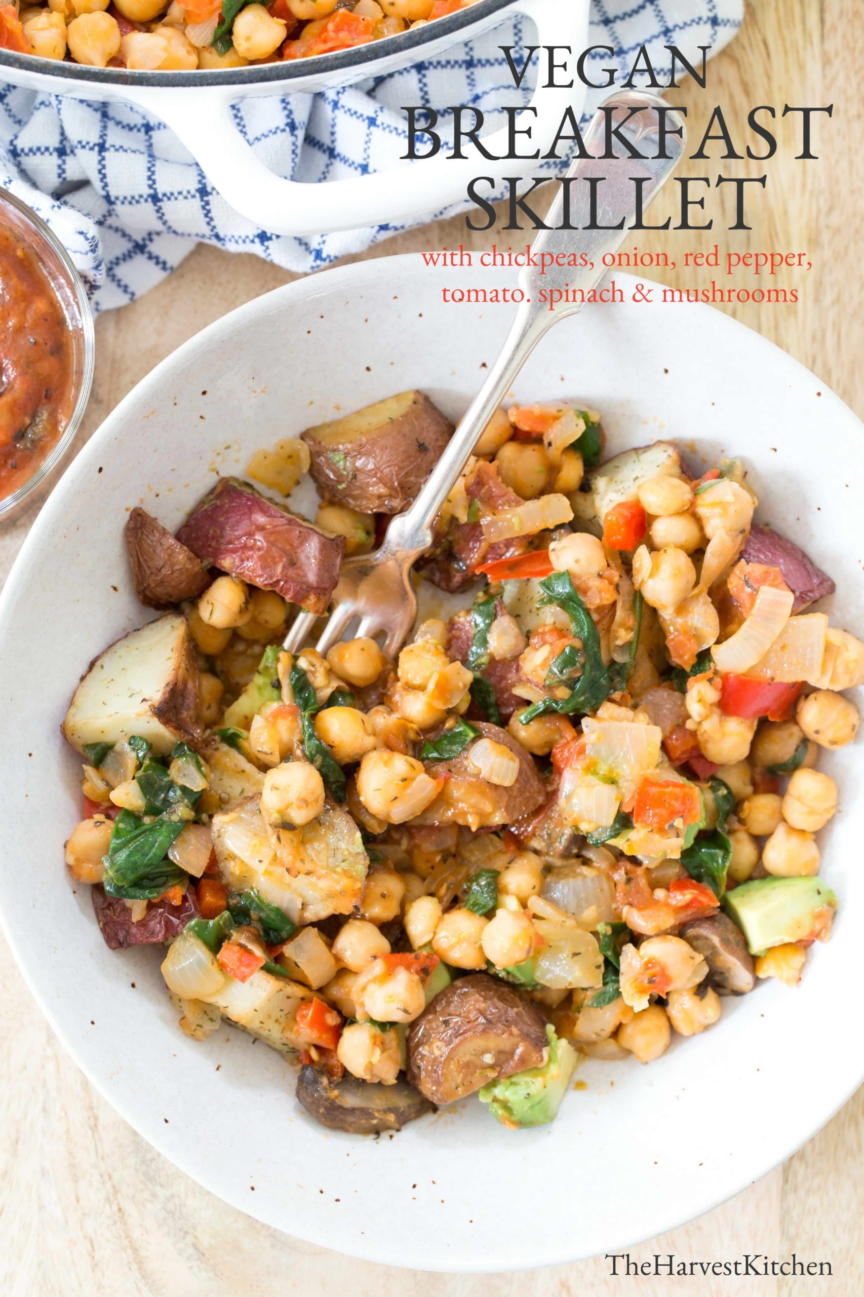 bowl of chickpeas and roasted potato skillet