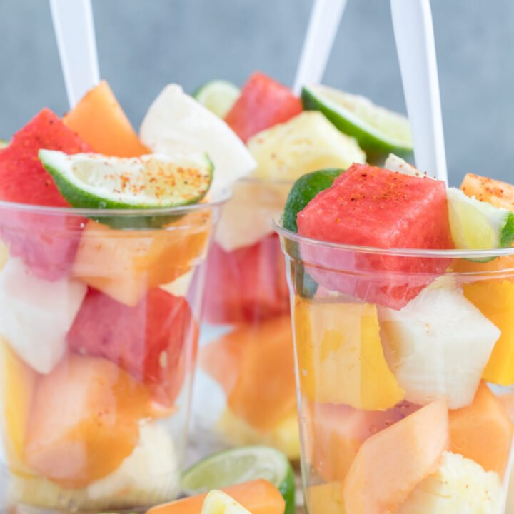 healthy fruit cups filled with watermelon and pineapple