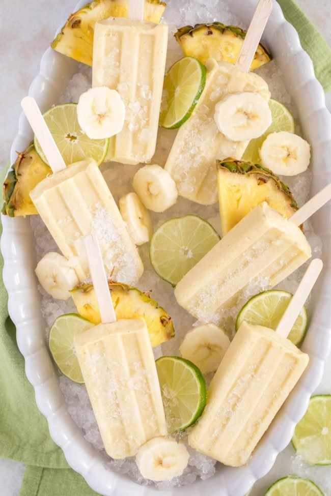These easy-to-make Pineapple Banana Popsicles are made with fresh bananas, pineapple, pineapple juice and coconut milk