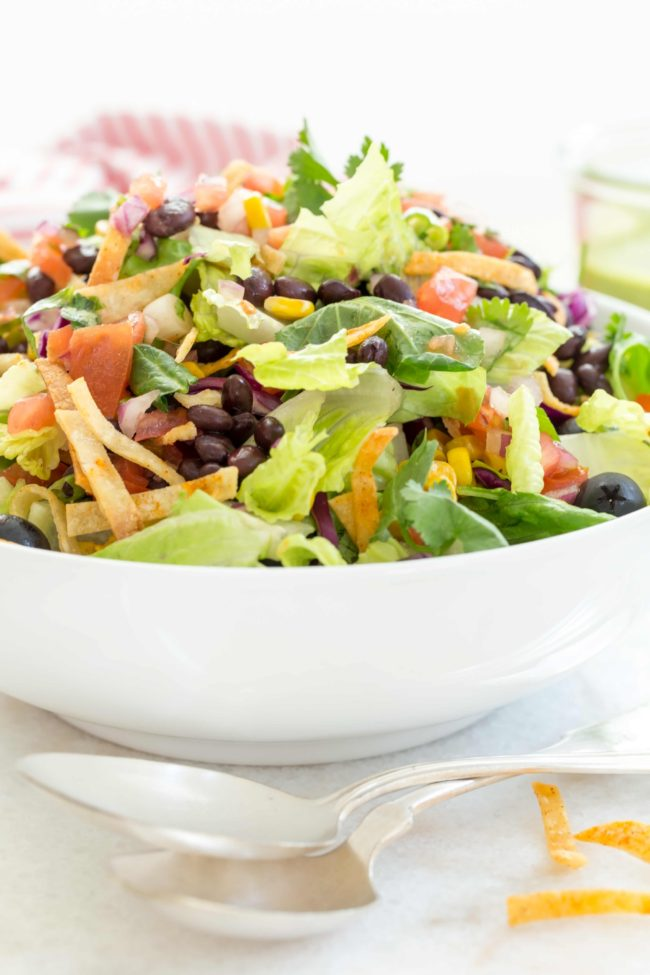 This Mexican Salad Recipe is loaded with healthy ingredients all tossed in a delicious Cilantro Lime Vinaigrette