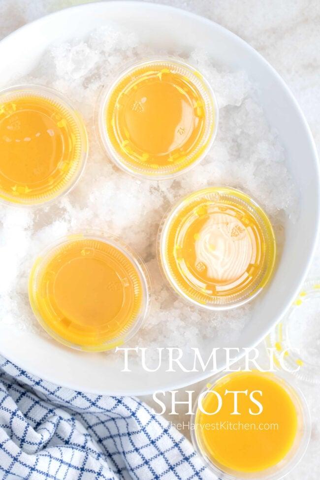 little cups of lemon ginger turmeric shots