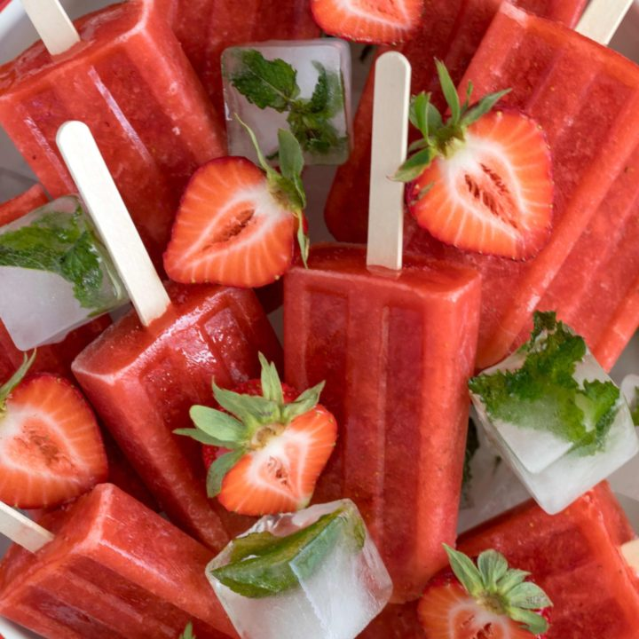 These refreshing summer Strawberry Popsicles are made with juicy ripe strawberries, pure maple syrup, lemon juice and water