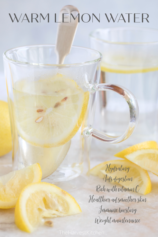 Lemon water is rich with vitamin C, antioxidants and anti-inflammatory benefits, and helps to improve the overall health of your immune system