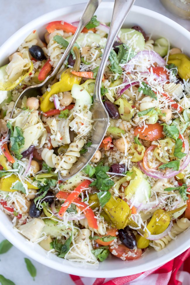 This Italian Pasta Salad is a delicious mix of pasta, quinoa and chickpeas and an assortment of vegetables all tossed in a delicious Italian vinaigrette