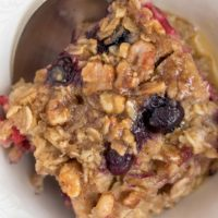 This Baked Oatmeal is studded with a mix of berries and naturally sweetened with frozen bananas and pure maple syrup