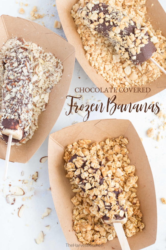 Frozen Chocolate Covered Bananas are frozen bananas dipped in dark chocolate then rolled in chopped nuts, granola and shredded coconut