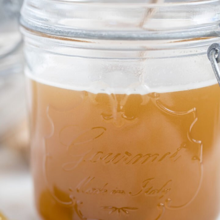 mason jar filled with ginger syrup