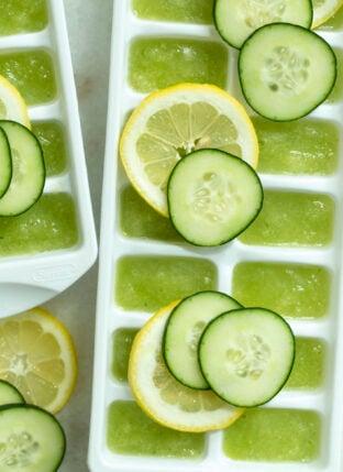 Hydrating Lemon Cucumber Ice Cubes
