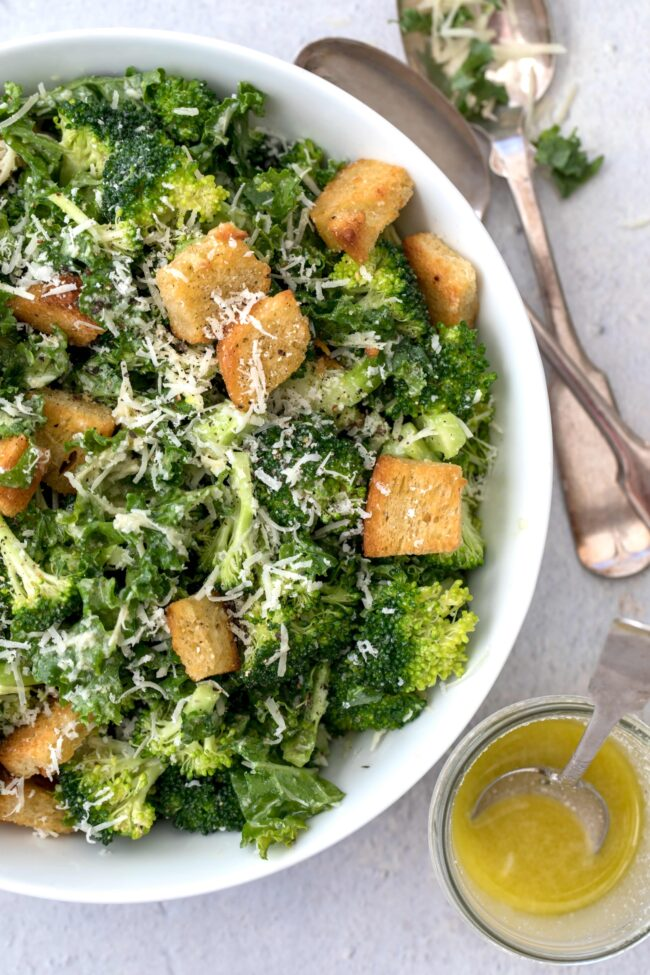 broccoli and kale salad mixed in a bowl