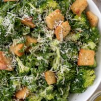 bowl of broccoli and kale salad