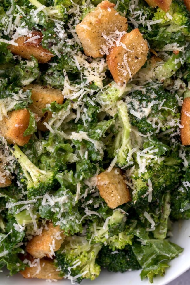 broccoli and kale with croutons
