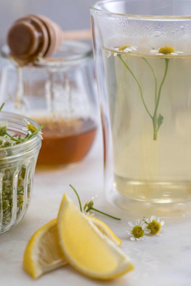 glass mug of chamomile tea