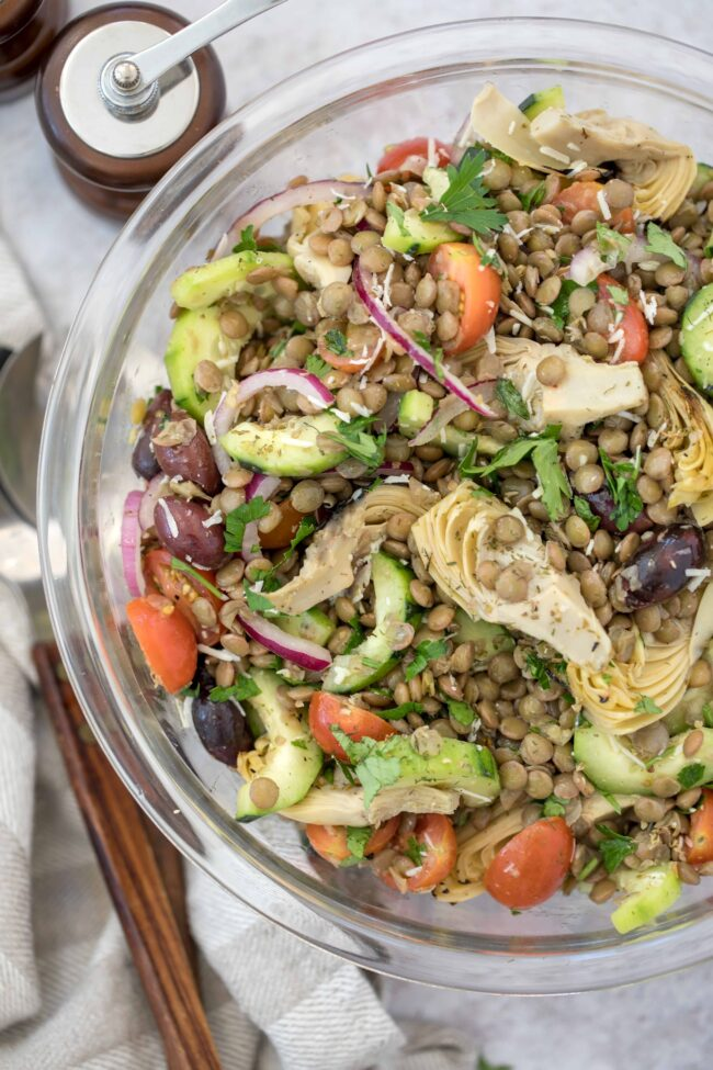 bowl of lentils and vegetable salad
