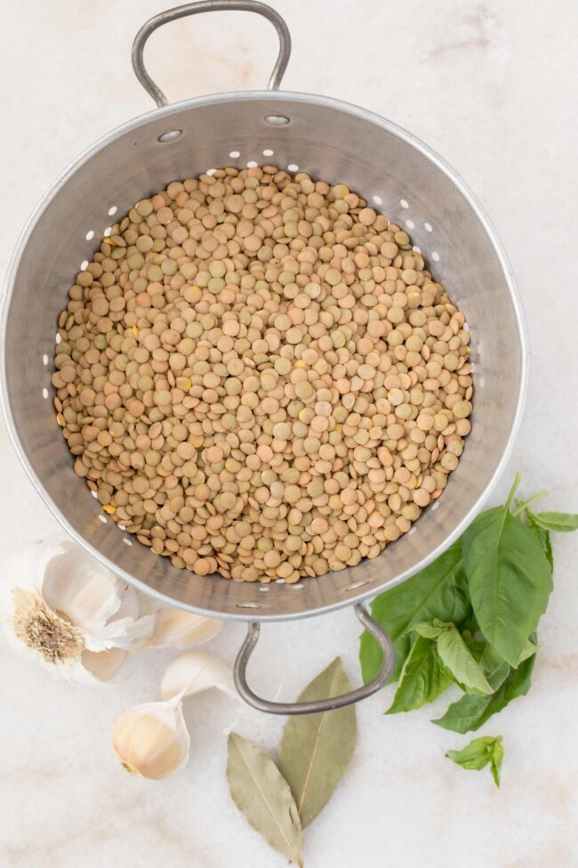 colander with dried lentils