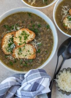 bowls of French lentil soup