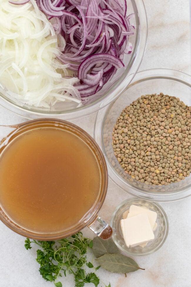 bowls of lentil soup ingredients