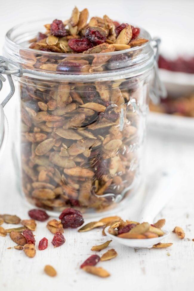 glass mason jar with roasted pumpkin seeds
