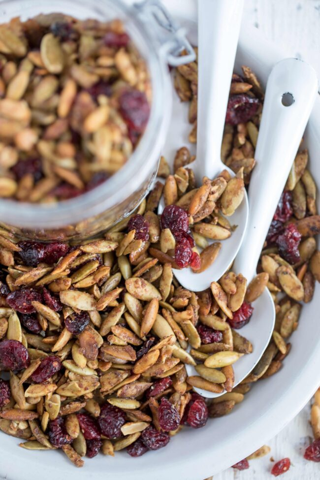 Roasted Pumpkin Seeds in dish