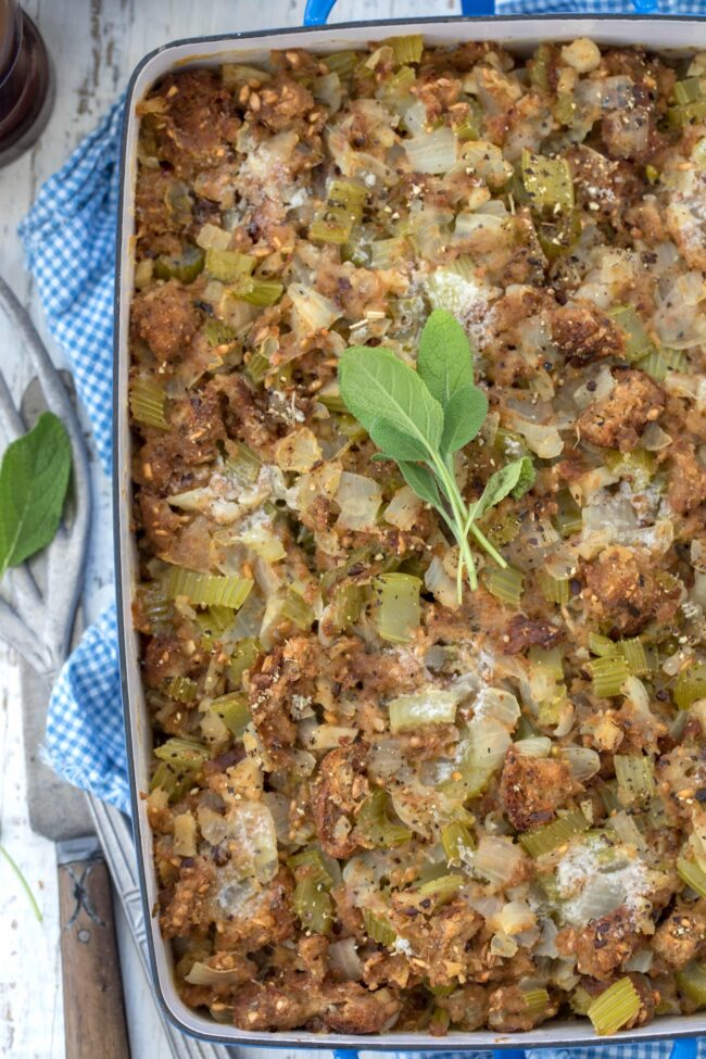 baking dish with bread stuffing
