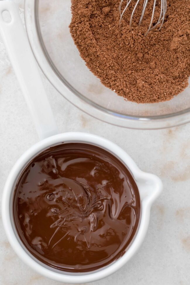 bowls of melted chocolate and almond flour