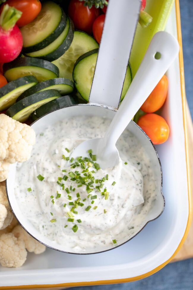 bow of ranch dressing with vegetables