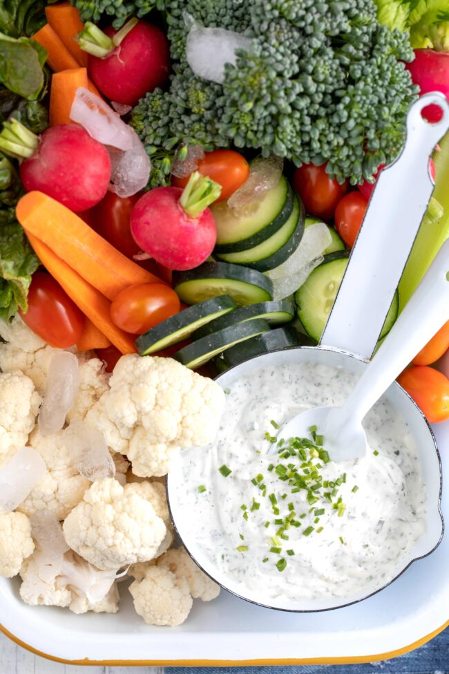 bowl of ranch dip with vegetables
